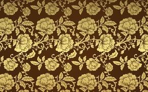 Картинка ретро, фон, обои, узор, розы, золотой, коричневый, винтаж