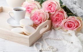 Картинка розы, печенье, бусы, поднос