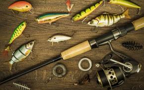 Картинка рыбки, фон, рыбалка, поплавок, удочка, крючки, снасти, леска, грузила