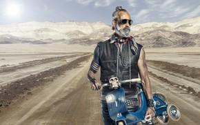 Картинка дорога, мотоцикл, байкер