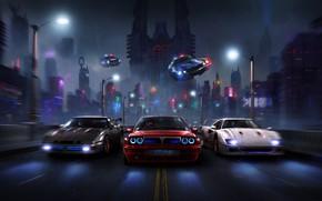 Картинка Дорога, Ночь, Город, Полиция, Машины, City, Fantasy, Cars, Night, Фантастика, Concept Art, BRZ, Суперкары, Vehicles, …