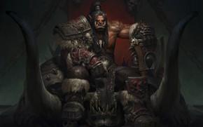 Картинка Орк, трон, World Of Warcraft, Grom Hellscream