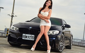 Картинка авто, взгляд, Девушки, BMW, красивая девушка, Stella, позирует на капоте