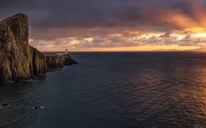 Картинка море, закат, маяк, Шотландия, горизонт, Scotland, мыс, Isle of Skye, Neist Point, Остров Скай, Duirinish …