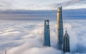 Картинка city, China, Shanghai, clouds, buildings, skyscrapers, cityscape