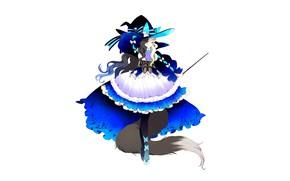 Картинка девушка, фентези, минимализм, белый фон, волшебница, волшебная палочка