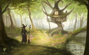 Картинка лес, дом, ведьма