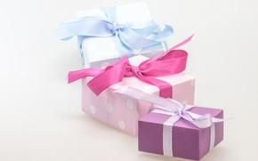 Картинка праздник, коробка, подарок, лента, подарки, бантики, бант, разные, коробки, банты