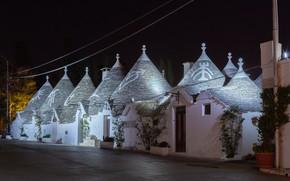 Картинка ночь, улица, постройки, италия, Alberobello