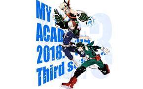Картинка парни, герои, трио, Boku no Hero Academia, Мидория Изуку, Тодороки Шото, Моя геройская акадеимя, Бакуго, ...