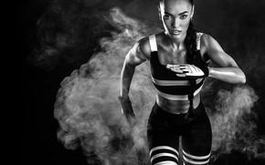 Картинка white, black, brunette, runner
