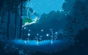 Картинка лес, звезды, ночь, фея, фэнтези