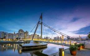 Картинка bridge, night, Singapore, architecture