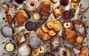 Картинка чай, выпечка, варенье, кексы, булочки