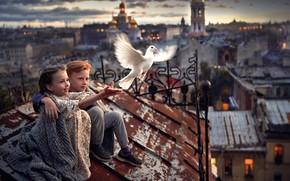 Картинка дети, город, птица, мальчик, дружба, девочка, друзья, на крыше, белый голубь