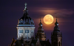 Картинка Amsterdam, Netherlands, St. Nicholas Church, Super Moon