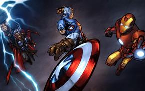 Картинка фантастика, арт, персонажи, Iron Man, комикс, костюмы, Captain America, супергерои, Thor, MARVEL, Ander Zarate