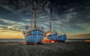 Картинка песок, море, пляж, небо, облака, рассвет, побережье, Дания, горизонт, судна