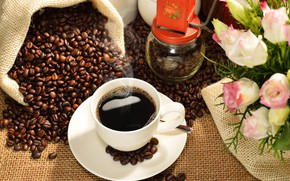 Картинка кофе, розы, зерна, чашка, напиток