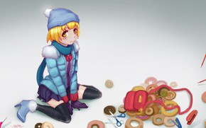 Картинка шапка, карандаши, девочка, пончики, ножницы, Bakemonogatari, степлеры