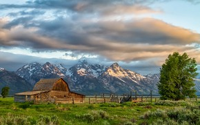 Картинка природа, Grand Teton National Park, Moulton Barn