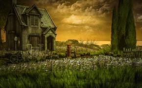 Картинка небо, облака, деревья, пейзаж, закат, цветы, природа, велосипед, дом, рендеринг, забор, луг, домик, теплые тона, …