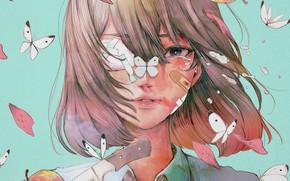 Картинка девушка, бабочки, яблоки, нож, плачет, wataboku