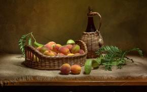 Картинка бутылка, корзинка, абрикосы