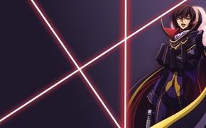 Картинка аниме, арт, Фон, лазеры, парень, Code Geass, Лилуш