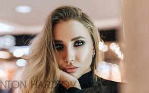 Картинка взгляд, крупный план, поза, модель, портрет, макияж, прическа, блондинка, красотка, боке, Юля, Anton Harisov, Антон …