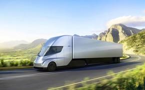 Картинка грузовик, Tesla, электромобиль, Semi