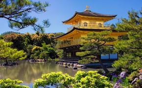 Картинка деревья, пейзаж, природа, пруд, парк, вилла, Япония, храм, Киото, павильон, Золотой павильон, Кинкаку-дзи, Рокуон-дзи
