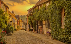 Картинка дорога, улица, Англия, дома, Рай, улочка, England, East Sussex, Восточный Суссекс, Rye, Mermaid Street
