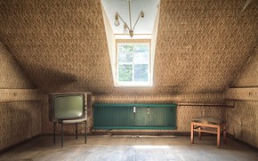Картинка телевизор, окно, стул, натурализм