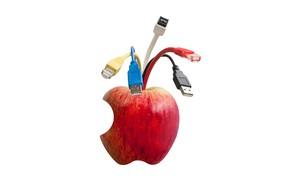 Картинка яблоко, разъёмы, кабеля