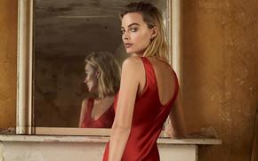 Картинка девушка, поза, спина, платье, актриса, зеркало, Margot Robbie