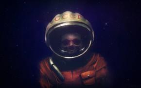 Картинка Звезды, Мертвый, Космонавт, USSR, СССР, Арт, Space, Art, Concept Art, madeinkipish, Dmitry Bogolyubov, Silent cosmonaut, …