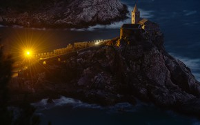 Картинка море, лучи, свет, ночь, скалы, Италия, Лигурия, Портовенере, Portovenere