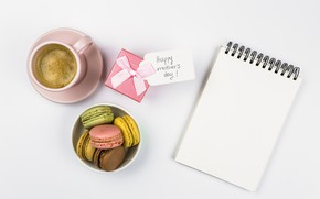 Картинка подарок, печенье, блокнот, coffe, macaron