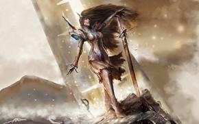 Картинка girl, sword, fantasy, armor, weapon, Warrior, blue eyes, brunette, elf, digital art, artwork, fantasy art, …