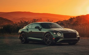 Картинка холмы, купе, Bentley, вечер, 2019, Continental GT V8