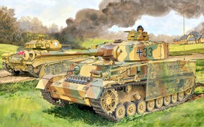 Картинка Pz.Kpfw IV Ausf J, Дым, US Army, танкист, Panzerwaffe, Чаффи, Вторая Мировая война, лёгкий танк …