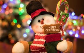 Картинка огни, сияние, фон, настроение, праздник, подарок, игрушка, новый год, рождество, позитив, снеговик, боке, снеговичок
