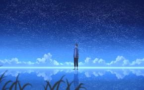 Картинка ночь, отражение, парень