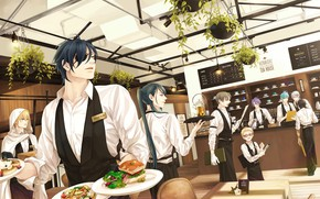 Картинка аниме, арт, ресторан, парни, официанты, Touken ranbu