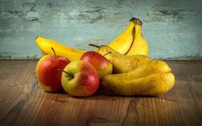 Картинка Бананы, Яблоки, Натюрморт, Груши