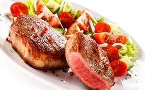 Картинка мясо, овощи, помидоры, блюдо, салат