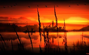 Картинка Birds, Render, Water, Sunset, River, Lake, Boat, PHASES ARTS