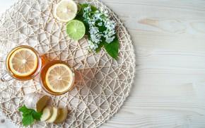 Картинка цветы, лимон, чай, имбирь