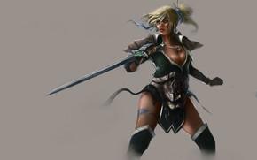 Картинка фон, Девушка, меч, воительница